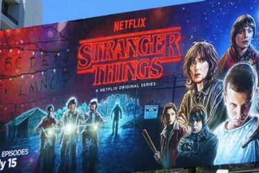 "A Huge Electronic Digital Billboard Advertisement Of AN American Web Series ""Stranger Things"