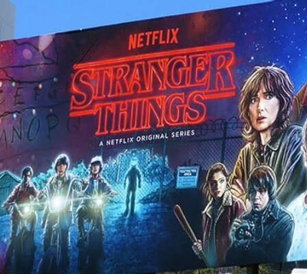 "A Huge Electronic Digital Billboard Advertisement Of AN American Web Series ""Stranger Things"